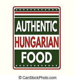 hongaars voedsel, etiket, postzegel, authentiek, of