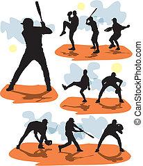 honkbal, silhouettes, vector, set