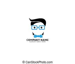 hoofd, illustratie, ontwerp, geek, logo