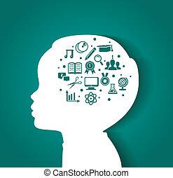 hoofd, opleiding, kind, iconen