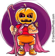 hoofd, pompoen halloween, kostuum, kind