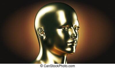 hoofd, ronddraaien, goud