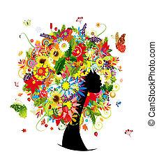hoofd, vrouw, blad, hairstyle, quatres saisons, bloemen, ontwerp