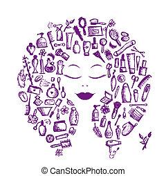 hoofd, vrouw, concept, schoonheidsmiddel, accessoires, ontwerp, vrouwlijk, jouw