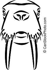 hoofd, walrussen, stijl, caligraphy