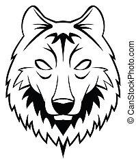 hoofd, wolf