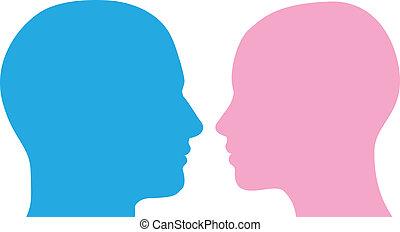 hoofden, vrouw, silhouette, man
