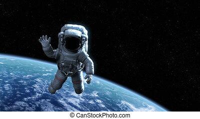 hoog, 4k, gedetailleerd, 3d, zwaaiende , mooi, animatie, aarde, ruimtevaarder, orbit., ultra, hd, 3840x2160