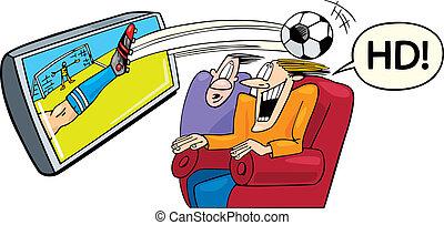 hoog, definitie, televisie, sportende