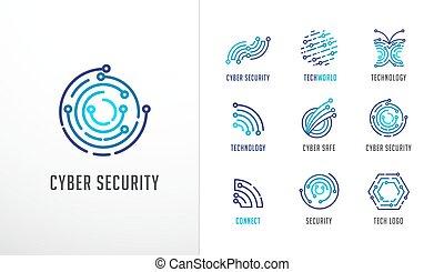 hoog, fintech, technologie, iconen, verzameling, symbolen, technologie, logos., biotechnologie
