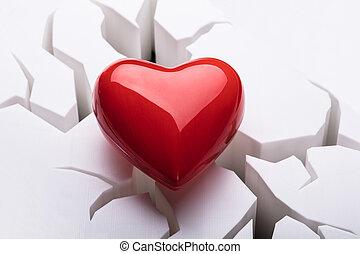 hoog, hart, hoek, rood, aanzicht
