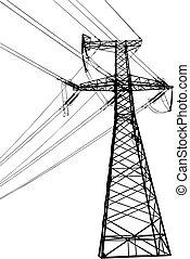 hoog, lijn, spanning, elektrisch