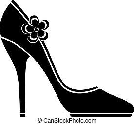 hoog, schoentjes, hiel, (silhouette)