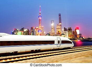 hoog, shanghai, snelheid, treinen