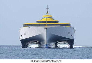 hoog, veerboot, scheeps , moderne, snelheid