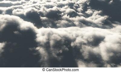 hoog, vlieg, wolken, 4k