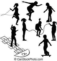 hopscotch, kinderen spelende, koord, actief, springt, cilinder glijmiddelen, of, kids.