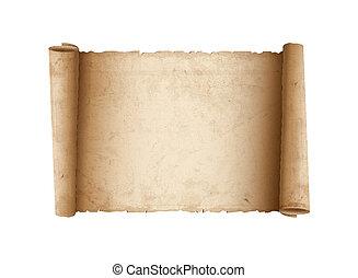 horizontaal, papier, oud, boekrol