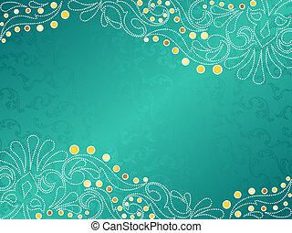 horizontaal, turkoois, delicaat, achtergrond, swirls