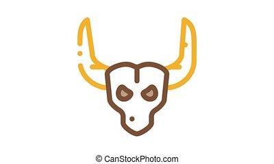 horns, stier, pictogram, animatie