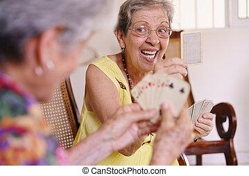 hospice, kaart gespeel, oud, spel, vrouwen, genieten