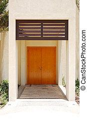 hotel, stijl, villa, moderne, ingang, abu dhabi, arabische , uae, luxe