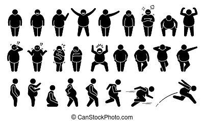 houdingen, basis, figuur, pictogram., man, maniertjes, dik, overgewicht, stok, karakter