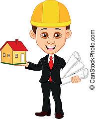 houdt, mannen, woning, architect