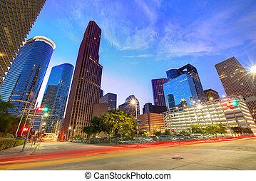houston, ons, downtown, skyline, ondergaande zon , texas