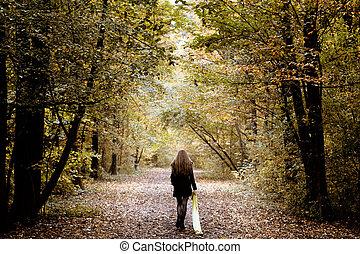 hout, alleen, wandelende, vrouw, verdrietige