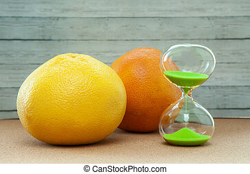hout, close-up, achtergrond, grapefruit, sinaasappel, hourglass