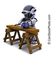 hout, holle weg, zaag, robot, macht