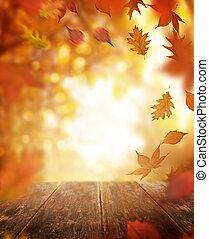 houten, autumn leaves, het vallen, tafel