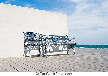 houten bank, strand., vloer