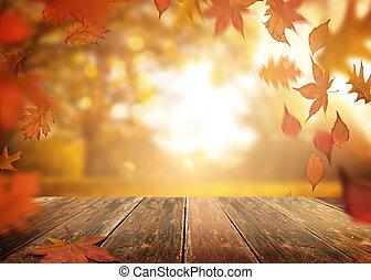houten, bladeren, herfst, achtergrond, tafel, het vallen
