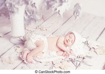 houten, bladeren, slapende, pasgeboren, achtergrond, baby, witte , op