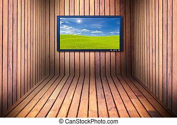 houten, breed, tv scherm, kamer