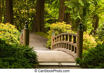 houten brug, tuin japanner