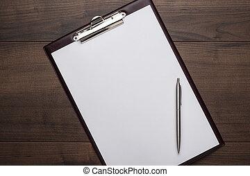 houten, bruine , notepad, kantoor, tafel