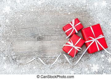 houten, dozen, cadeau, achtergrond