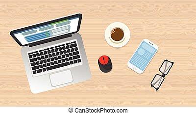 houten, draagbare computer, aanzicht, bovenzijde, hoek, telefoon, werkplaats, bureau