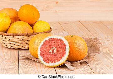 houten, grapefruit, achtergrond