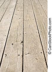 houten, grunge, spijkers, oud, vloer