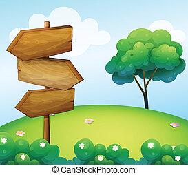 houten, heuvel, richtingwijzer, signage