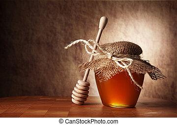 houten, honing, pot, tafel., stok
