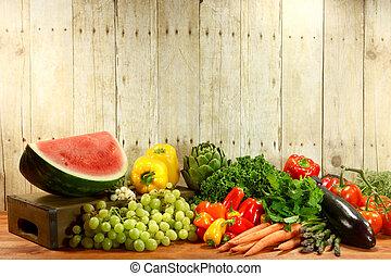 houten, items, kruidenierswinkel, produceren, plank