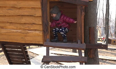 houten, klein meisje, playhouse