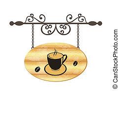 houten, koffie, meldingsbord, smeden, kop