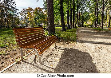 houten, laan, park, lege, bankje