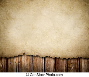 houten muur, papier, grunge, achtergrond